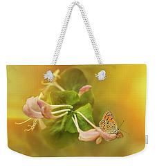 Phengaris Teleius Butterfly On Honeysuckle Flowers Weekender Tote Bag by Jaroslaw Blaminsky