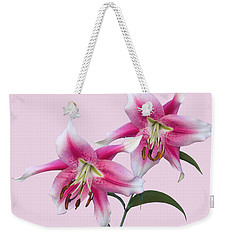 Pink And White Ot Lilies Weekender Tote Bag by Jane McIlroy