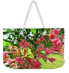 Weekender Tote Bag featuring the photograph Pink Flowers by Stephanie Moore