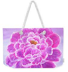 Weekender Tote Bag featuring the painting Pink Peony by Sonya Nancy Capling-Bacle