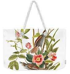 Weekender Tote Bag featuring the photograph Pink Roses by Munir Alawi