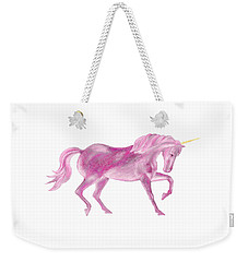 Weekender Tote Bag featuring the mixed media Pink Unicorn by Elizabeth Lock