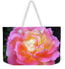 Pink With Yellow Center Rose Weekender Tote Bag by Ellen Tully