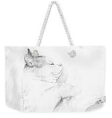 Weekender Tote Bag featuring the mixed media Playful Cat Iv by Elizabeth Lock