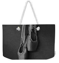 Weekender Tote Bag featuring the photograph Pointe Shoes Bw by Laura Fasulo