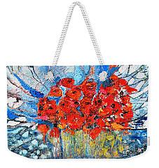 Poppies Weekender Tote Bag by Evelina Popilian