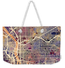 Weekender Tote Bag featuring the digital art Portland Oregon City Map by Michael Tompsett