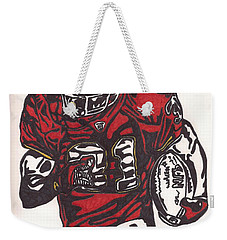 Weekender Tote Bag featuring the drawing Priest Holmes 2 by Jeremiah Colley