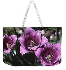 Purple Flowers Two  Weekender Tote Bag by Lyle Crump