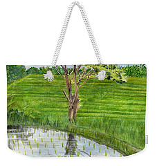 Weekender Tote Bag featuring the painting Rain Tree On The Way To Ubud Bali Indonesia by Melly Terpening