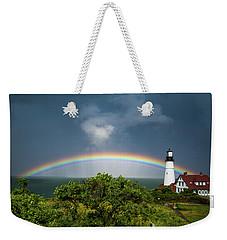 Rainbow At Portland Headlight Weekender Tote Bag