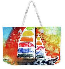 Rainbow Sailboat At Sunset Weekender Tote Bag by Kovacs Anna Brigitta