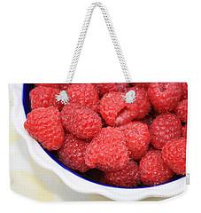 Raspberries In Polish Pottery Bowl Weekender Tote Bag by Carol Groenen
