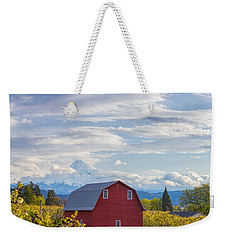 Weekender Tote Bag featuring the photograph Red Barn And Mt Hood by Patricia Davidson