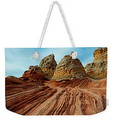 Weekender Tote Bag featuring the photograph Red Desert Lines by Mike Dawson