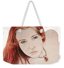 Red Hair And Freckled Beauty Weekender Tote Bag by Jim Fitzpatrick