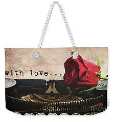 Red Rose On Typewriter Weekender Tote Bag