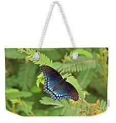 Weekender Tote Bag featuring the photograph Red Spotted Purple Butterfly by Sandy Keeton