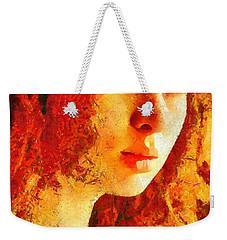 Weekender Tote Bag featuring the digital art Redhead by Gun Legler