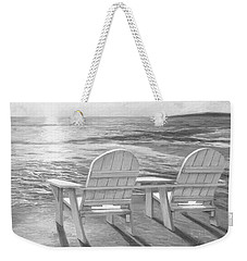 Relaxing Sunset - Black And White Weekender Tote Bag