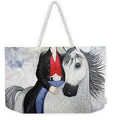 Weekender Tote Bag featuring the painting Ridin' Red by Lance Headlee