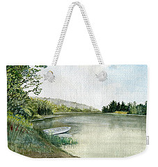 Weekender Tote Bag featuring the painting River Light by Melly Terpening