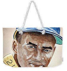 Weekender Tote Bag featuring the painting Roberto Clemente - Watercolor Painting by Edwin Alverio