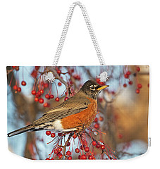 Weekender Tote Bag featuring the photograph Robin.. by Nina Stavlund