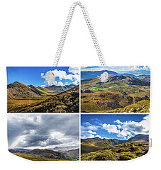 Weekender Tote Bag featuring the photograph Postcard Of Rock Formation Landscape With Clouds And Sun Rays In Ireland by Semmick Photo