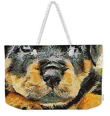 Rottweiler Puppy Portrait Weekender Tote Bag by Tracey Harrington-Simpson