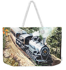 Weekender Tote Bag featuring the painting Round The Bend by Karen Ilari