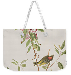 Ruby Crowned Wren Weekender Tote Bag by John James Audubon