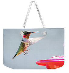 Weekender Tote Bag featuring the photograph Ruby-throated Hummingbird  by Ricky L Jones
