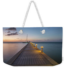 Weekender Tote Bag featuring the photograph Rum Point Pier At Sunset by Adam Romanowicz