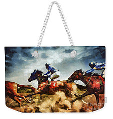 Weekender Tote Bag featuring the painting Running Horses Competition Jockeys In Horse Race by Dimitar Hristov