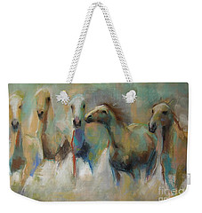 Weekender Tote Bag featuring the pastel Running With The Palominos by Frances Marino
