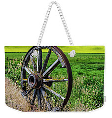 Rustic Wagon Wheel In The Palouse Weekender Tote Bag by James Hammond