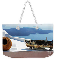 Weekender Tote Bag featuring the photograph Santorini Greece by Bob Christopher