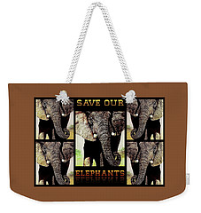 Weekender Tote Bag featuring the painting Save  Our  Endangered  Elephants by Hartmut Jager