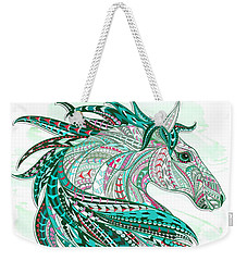 Sea Green Ethnic Horse Weekender Tote Bag