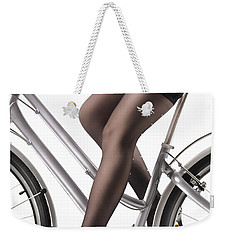 Sexy Woman Riding A Bike Weekender Tote Bag