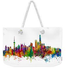 Shanghai China Skyline Weekender Tote Bag