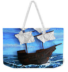 Weekender Tote Bag featuring the mixed media Ship by Angela Stout