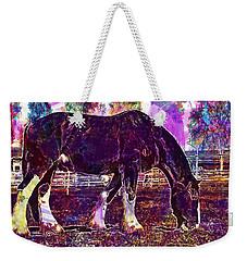 Weekender Tote Bag featuring the digital art Shire Horse Horse Coupling  by PixBreak Art