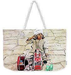 Weekender Tote Bag featuring the digital art Shoeshine Girl - Nile River, Egypt by Joseph Hendrix