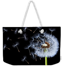 Weekender Tote Bag featuring the photograph Silhouettes Of Dandelions by Bess Hamiti