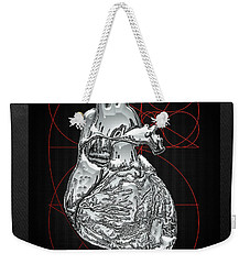 Silver Human Heart On Black Canvas Weekender Tote Bag