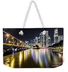 Singapore River At Night With Financial District In Singapore Weekender Tote Bag