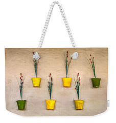 Six Flower Pots On The Wall Weekender Tote Bag by Gary Slawsky
