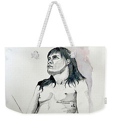 Sketch For White Amber Weekender Tote Bag by Ray Agius